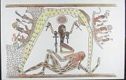 Geb (deitado, representando a terra)